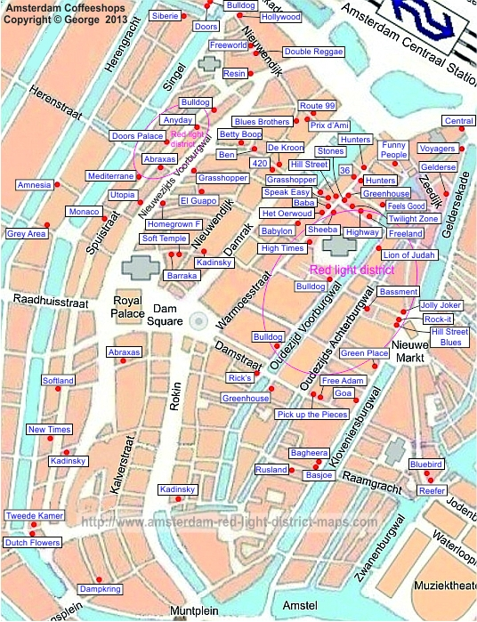 Amsterdam Coffeeshops Map And Photos Red Light District