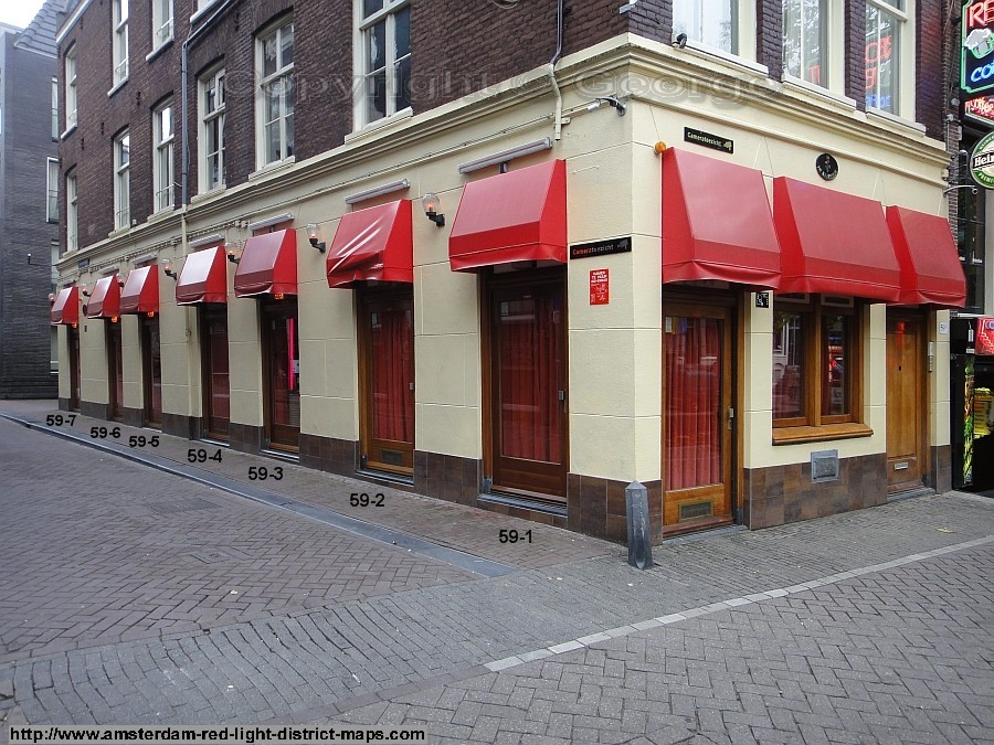 Oudezijds Achterburgwal 59 / Monnikenstraat, Amsterdam red light district (De Wallen / Walletjes / De Rosse Buurt). Copyright: George 2011